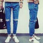 HOT Men Classical Leisure Retro Relaxed Ripped Holes Denim Jeans Pants Trousers