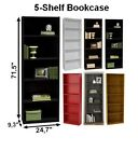 TALL 5-Shelf Bookcase Storage Bedroom Home Office Wood White Black Brown Oak Red