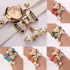 Chic Women's Bowknot Imitation Pearl Leather Band Round Crystal Dial Wrist Watch