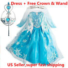 Внешний вид - 2015 Frozen Princess ELSA Dress Cosplay Party Dress Up + Free Crown & Wand
