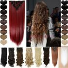 Deluxe 8PCS Full Head Clip In Hair Extensions Blonde Brown Purple Straight IU1