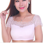 Women Fashion Sexy Stretch Strapless Boob Tube Top Bandeau Lace T-shirt Blouse