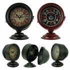 Round Retro Vintage Metal Spotlight Casing 13cm Rustic Desk Clock