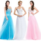 Sparkly White Wedding Party Ball Formal Evening Gown Bridesmaid Prom Dress Maxi