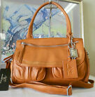 New ALC® Brea, Italian Leather, Multi Pocket Shoulder Bag w/ Strap- Brown