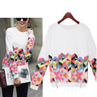 Ladies Womens Long Sleeve Shirt Casual Floral Blouse Loose Cotton Tops Tee Shirt