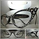 VINTAGE 60's CAT EYE Style READING GLASSES READERS Black Frame Hematite Crystals
