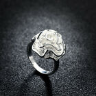 rose 3d wrap SILVER sp open ADJUSTABLE BAND THUMB RINGS circle band flower gift