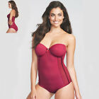 Figleaves Vintage Luxe Body Slimming Shapewear Medium Tummy Control Red V Sizes