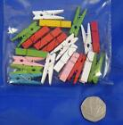 20pc Small 35mm Mini WOODEN PEGS Craft Crafting Card Making Coloured Photo Clips