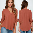 Fashion Women V-neck Tops Tee Long Sleeve Shirt Casual Blouse Loose T-shirt Y1
