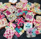 10/20/50 Mixed Wooden Square Buttons Flags, Flowers, Patterns 15mm 2 holes