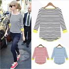 Womens 3/4 Sleeve Stripes Plain Stretch Vest Tee T Shirt Loose Top U M-XXL