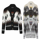 Womens Shawl Collar Aztec Fairisle Long Sleeve Knitted Cardigan Button Fastening