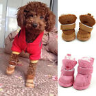 4PCS Fancy Soft Pet Dog Anti-slip Shoes Warm Winter Boots Booties Apparel 5Size