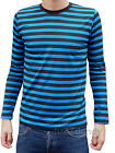 Mens Stripey t-shirt tee Blue Black nautical indie mod Top striped preppy jumper