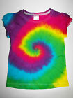 GIRLS RAINBOW TIE DYE / DYED FUNKY HIPPY TOP WITH CUTE SLEEVES SIZES 1 2 3 4 5 6