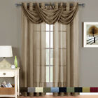 Abri Grommet Crushed Sheer Elegant Window Waterfall Valances, 24x24 inches