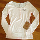 TRUE RELIGION Shirt Blouse BRANDED HENLEY HORSESHOE W/CRYSTALS Pink Womens