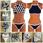 Plus Size Sexy High Neck Bikini Set Padded Up Top Swimsuit Swimwear Bathing FO