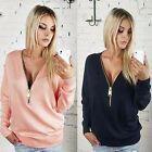 Fashion Women Sexy Long Sleeve V-neck Zipper Cotton T Shirt Casual Tops Blouse