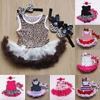 3pcs Newborn Baby Clothing Set Girl Kids TUTU Party dress+Headband+baby shoes