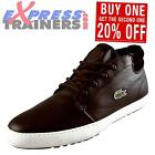 Lacoste Mens Ampthill Classic Leather Hi Top Chukka Boots Brown *AUTHENTIC*