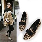 Women's Pointed Leopard Autumn Bow Synthetic Suede Ballet Flat Shoes