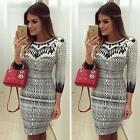 Fashion Printed Women Bandage Bodycon Long Sleeve Evening Party Cocktail Dress