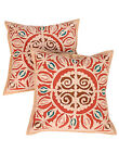 Brown Pillow Cases Applique Work Cushion Cover Geometric Cotton Covers Square