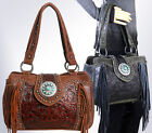 Trinity Ranch Concealed Carry, Tooled Leather & Fringe Satchel -5 Color Choices