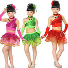 Sequined Girls Party Stage Dance dress Kids Latin Dancewear Costume dress+Tops