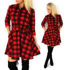 Women Sexy V-Neck Retro Plaids Long Sleeve Waist Shirt Party Cocktail Mini Dress