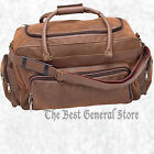 """24"""" Brown Faux Leather Tote Bag Duffle Gym Luggage Carry-On with Shoulder Strap"""