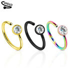 """20g 5/16"""" Round CZ Gold Black IP Surgical Steel Nose Hoop Ring Bend Twist To Fit image"""