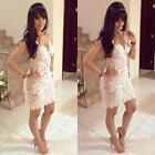 Chic White Women Hollow Out Backless Sleeveless Lace Floral Mesh Strap Dress F39