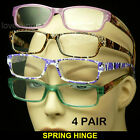 4 PAIR PACK LOT READING GLASSES SPRING HINGE ARM POWER CLEAR LENS NEW STRENGTH