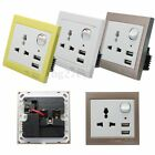 Dual 2 USB Charger + Universal Wall Socket Faceplate Outlet Power Point Switch