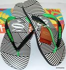 HAVAIANAS NEW MENS THONGS FLIP FLOPS Optical  WAVES Black White Green Surf Logo