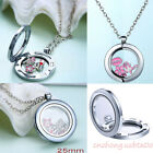 Hot Sale Floating Charm Living Memory Glass Round Locket Charms Necklace Pendant