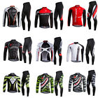 Men Cycling Bike Bicycle Clothes Long Sleeve Jersey Pants Trousers Set Padded