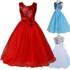 XMAS RED WHITE Flower Girl Princess Wedding Gown Formal Party Dress for Age 7~12
