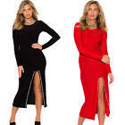 Sexy Women Long Sleeve Bodycon Evening Party Club Midi Dress With Slit Split New