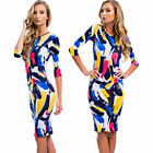 Sexy Colorblock Splash Ink 3/4 Sleeve Bodycon Mini Club Party Evening Dress New