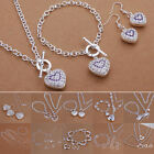 925 Silver Solid Ladies Heart Jewelry Set Fashion Necklace Bracelet Earrings