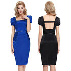 Vintage Womens Black 50's Bodycon Pencil Cocktail Party Evening Dress