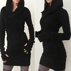 Fashion Womens Lady Winter Warm Black Long Sleeve Bodycon Hooded Mini Dress Prom