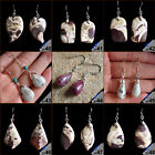 Sterling Silver Hoops Dangle Earrings Jewelry Lot With Natural Gemstone Pendants