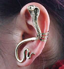 Punk Ladies Gold Silver Cobra snake Crystal Earring Stud Ear Hook Cuff gift bag