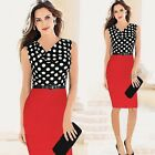 New Woman Summer OL Formal Pencil Wave Point Evening Party Dress Color Black Red